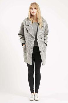 Slouchy Boucle Wool Blend Coat