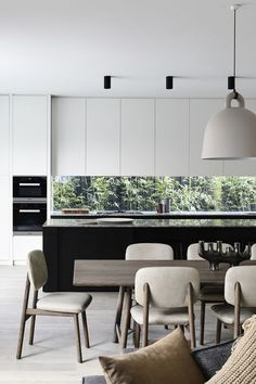 glass splash back, cupboards, black and white stone, minimalist cabinet, contemporary downlight Home Design, Luxury Kitchen Design, Küchen Design, Interior Design Kitchen, Contemporary Interior Design, Home Interior, Modern Interior Design, Minimalist Kitchen, Minimalist Style