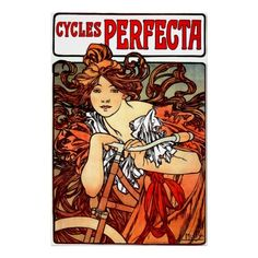 Vintage Girl on Bicycle Poster Print