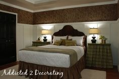 Inspiration for our master bedroom. Love the colors, the wall treatments, the drop cloth draperies and the entire room!!