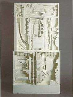 Louise Nevelson -- You can make your own simpler version, too! Find a cardboard box, arrange some everyday objects into/on it, hot-glue it all down, and spray paint it in one color! They make really cool wall-hangings and decorations:)