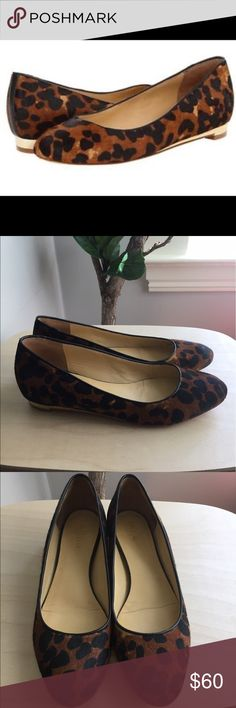 Cole Haan Astoria Calf Hair Ballerina Flat Classic leopard print flats with Cole Haan Nike Air technology. Pre-owned but taken excellent care of so in great used condition. Some minor wear on gold heels (cannot be seen when wearing) as shown in pictures. Toes have been replaced and heel taps have been put on by professional cobbler (can easily be removed). Calf hair has no wear or flaws. Cole Haan Shoes Flats & Loafers