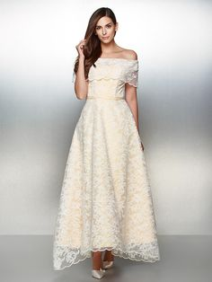 TS Couture Formal Evening Dress - Ivory A-line Off-the-shoulder Ankle-length Lace - AUD $214.49