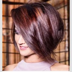Asymmetric Bob with the Splash-light color technique in rich Reds will definitely turn heads!