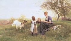 Feeding the Goats, 1870 Fine Art Print by Otto Weber
