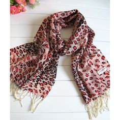 Printed Scarves   Pure Pashmina Leopard Print Scarf Wrap Red Shawl