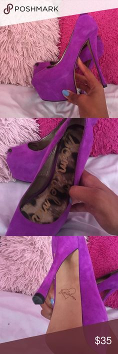 Sam Edelman beautiful purple Pumps Worn once. Real leather and suede. No damage to fabric. Like new Sam Edelman Shoes Heels