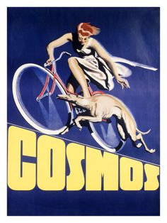 vintage cosmos bicycle ad with greyhound