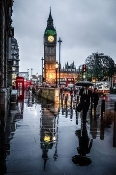 London in the rain.
