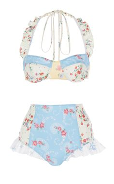 Kimberly Ruffled Floral-Print Bikini Set by LoveShackFancy Wardrobe Images, Whimsical Dress, Cute Swimsuits, Teen Swimsuits, Summer Suits, Pretty Lingerie, Daily Fashion, Bathing Suits, Ready To Wear