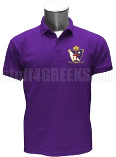 Purple Beta Upsilon Chi polo shirt with the crest on the left breast.