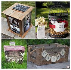 urne mariage retro vintage boite bois photo cage ancienne cagette panier pique nique caisse bois
