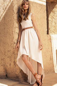 Anna Selezneva for Mango summer 2012 love the dress Look Fashion, High Fashion, Fashion Beauty, Womens Fashion, Fashion Brand, White Maxi Dresses, Summer Dresses, White Sundress, Dresses Dresses