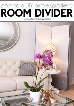 Painting a DIY ombre room divider