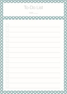To Do List Polka Dot turquoise Freebie
