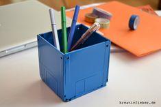 DIY: Disketten-Stiftebecher