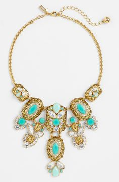 Adore this mint and glitter stone necklace.