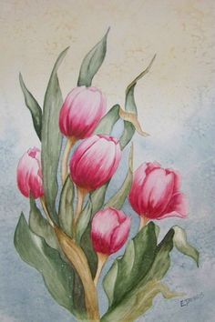 Tulip Painting, Mandala Painting, Painting & Drawing, Watercolor Pictures, Watercolor Flowers, Watercolor Paintings, Colorful Drawings, Art Drawings, Flower Line Drawings