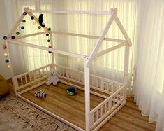 Check out our toddler beds selection for the very best in unique or custom, handmade pieces from our shops. Toddler Floor Bed, Toddler House Bed, Kids House, Nursery Crib, Childrens Beds, Montessori Toddler, Waldorf Toys, Wood Beds, House Beds