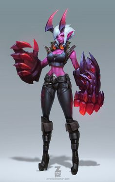 """Demon Vi - art for League of Legends by Paul Kwon """"Concept Art for Demon Vi skin. This was an amazing fun Vi skin to work on with the team! Copyright to Riot Games"""" Character Design References, Game Character, Character Concept, Concept Art, Fantasy Characters, Female Characters, League Of Legends Art, Girls Manga, Creature Design"""
