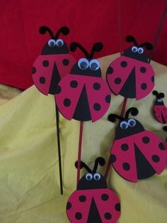 Ladybug+Party+Centerpiece+Picks+3+count+by+DreamComeTrueParties,+$12.00