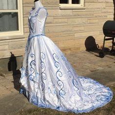 Corpse Bride Tim Burton Wedding Dress Gown Costume OOAK Sz L 13/14 #Dress