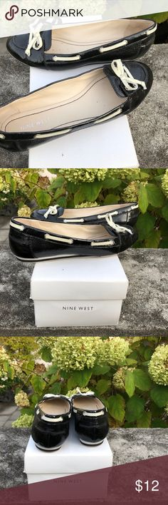Nine West Patent Leather Boat Shoe - Size 7&1/2 Nine West Black and ivory boat shoe. Shiny black leather with ivory lacing. Slip on low front flat. Looks cute with shorts or jeans. Wear running errands or even to work. Black & white striped low wedge. Box not included. Barely worn. Nine West Shoes Flats & Loafers