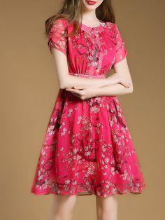 Fuchsia Floral-print Elegant A-line Mini Dress with Belt