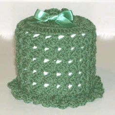 Crochet Pattern set for a yarn bath bath tissue cover and free matching soap holder using a slanted shell pattern repeat Crochet Kitchen, Crochet Home, Free Crochet, Hand Sewing Projects, Crochet Projects, Tissue Box Covers, Tissue Boxes, Crochet Borders, Crochet Patterns