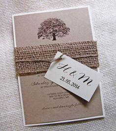 Oak Tree Wedding Invitation , Rustic Wedding Invitation,  Burlap, Kraft Wedding
