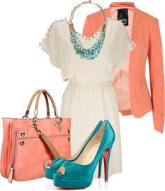 """""""Turquoise with your Coral"""" by corvettegal99 on Polyvore"""