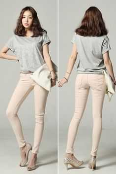 shiny pink blush skinnies with oversized clutch and grey tee. love!