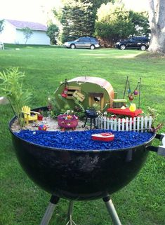 FAiRY CaMP GaRDeN in a Grill ___byCarlySmith - DIY Fairy Gardens