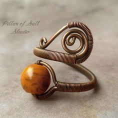 Orange Boho ring, Adjustable, Copper Wire Wrapped Ring, wire wrapped jewelry handmade, copper jewelry, orange howlite ring, earthy jewelry #copperwirewrappedrings #copperwirerings