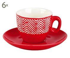 Kaffeetassen Zig Zag mit Untertassen, 6 Stück, 300 ml
