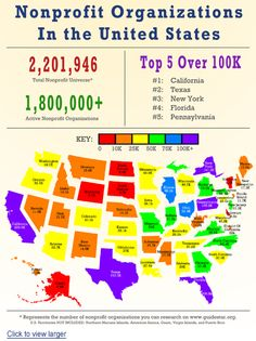 Map showing number of U.S. nonprofits by state