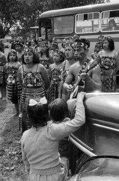 Māori Kapa Haka performers at the Turangawaewae Regatta, in Ngāruawāhia; 1960; Brian Brake. [Do these performers look familiar to anyone?]