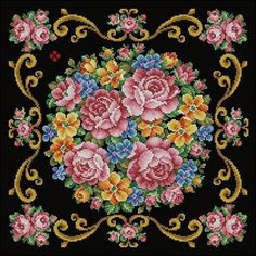 After the publication of the post: the Petit Point - elegant embroidery handmade many want to sew their own hands something simil. Cross Stitch Pillow, Cross Stitch Rose, Cross Stitch Flowers, Cross Stitch Charts, Cross Stitch Designs, Cross Stitch Patterns, Embroidery Patterns Free, Embroidery Kits, Ribbon Embroidery