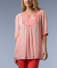 This Peach Embroidered V-Neck Tunic by Vasna is perfect! #zulilyfinds