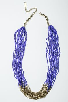 Cobalt and Gold Beaded Necklace by SKYLINE