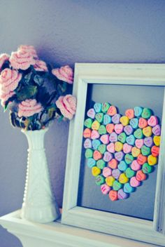 Conversation Heart Art ~ Use an old frame or purchase one at Dollar Tree. Cute!