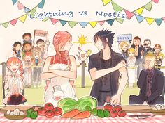 """Let's cook!!""I really want to eat they make food.※Serah and Ignis are special assistant haha."