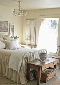 This bedroom from Faded Charm blog has a bedspread that is so ...