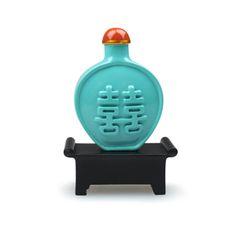 雙喜綠釉鼻煙壺磁鐵