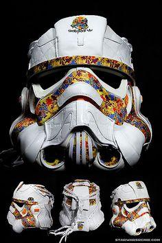 Storm trooper helmet made from sneakers