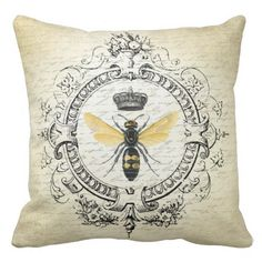 Modern vintage french queen bee throw pillow #homedecor #home