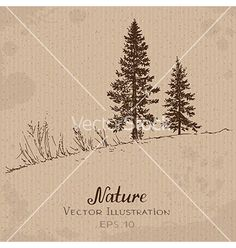 Free Vector | Two fir-trees vector 4295865 - by NataArt on VectorStock®