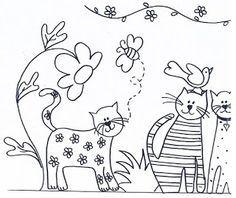 ARTE COM QUIANE - Paps e Moldes de Artesanato : 5 riscos de gatinhos para você usar no seu artesanato Hand Embroidery Patterns, Applique Patterns, Embroidery Applique, Cross Stitch Embroidery, Embroidery Designs, Doll Patterns, Colouring Pages, Coloring Sheets, Coloring Books