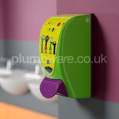 Children's Green Soap Dispenser. Brightly coloured dispensing systems to encourage hand washing. Toilet Accessories, Accessories Online, Toilet Cubicle, Green Soap, Parents Room, Soap Dispensers, Education Architecture, Toilet Roll Holder, Coat Hooks