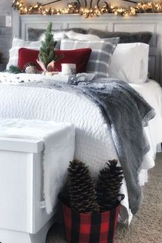 Create a Cozy, Lodge Style, Christmas Bedroom, Cozy Pillow Styling is part of Christmas decor Bedroom - Find and save ideas about cozy pillow styling at simplecozycharm com See Get decorating and design ideas and photos of the best bedrooms Farmhouse Christmas Decor, Cozy Christmas, Beautiful Christmas, Christmas Holidays, White Christmas, Christmas Decorations For Bedroom, Minimalist Christmas, Winter Bedroom Decor, Christmas Lights